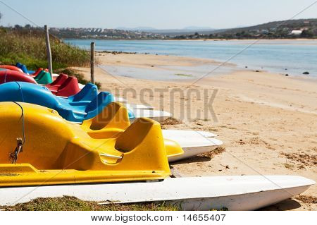 Row Of Colorful Paddleboats