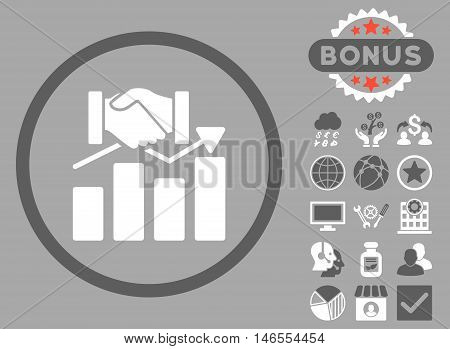 Acquisition Graph icon with bonus. Vector illustration style is flat iconic bicolor symbols, dark gray and white colors, silver background.