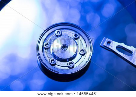 Abstract picture of hard disk plate with blue color.