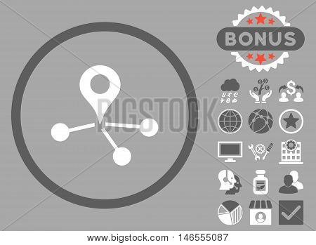 Geo Network icon with bonus. Vector illustration style is flat iconic bicolor symbols, dark gray and white colors, silver background.