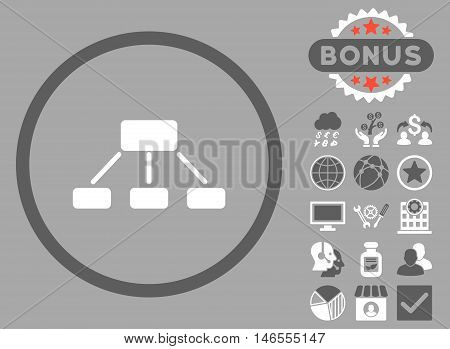 Hierarchy icon with bonus. Vector illustration style is flat iconic bicolor symbols, dark gray and white colors, silver background.