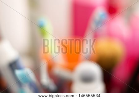 Blurry View of Personal Care Supplies, Abstract Background