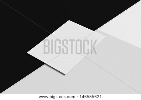 Mock-up postcard and cover. White paper card on black and grey background. 3D rendering for your design and template.
