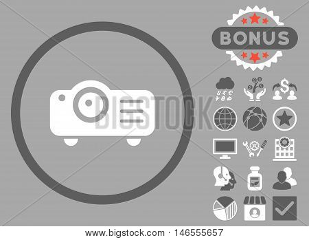 Projector icon with bonus. Vector illustration style is flat iconic bicolor symbols, dark gray and white colors, silver background.