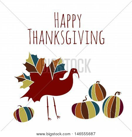 Vector thanksgiving background ethnic tones with hand-painted maple leaf, turkey bird, pumpkin doodle style. Hand-lettered words Happy thanksgiving card. Thank you card with brown text.