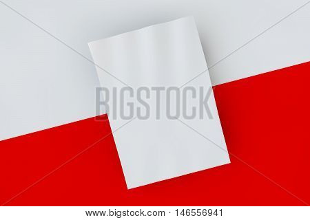 Mock up poster on red and white background. Poster standart format A5 / A4 / A3 / A2 / A1/ A0. Three-dimensional rendering.