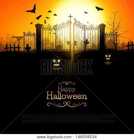 Halloween background with spooky old graveyard nad old gate