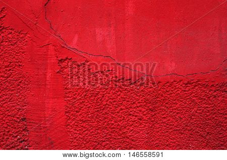 Empty Red Paint Rough Cracked Wall   Abstract Background Texture