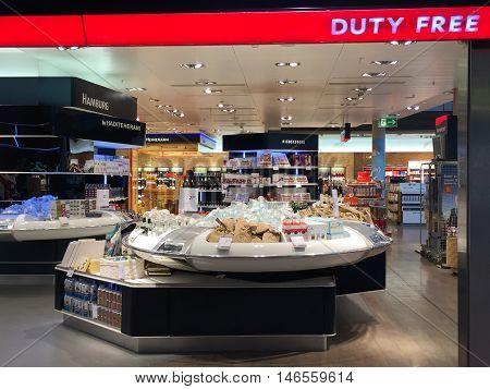 HAMBURG, GERMANY - AUG 28: Hamburg Airport (Flughafen Hamburg) in Germany, as seen on Aug 28, 2016. It is the fifth-busiest of Germany's commercial airports measured by the number of passengers.