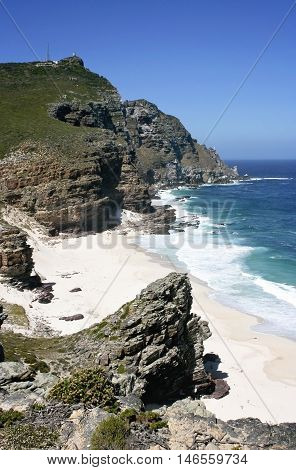 Coast and cliffs at Cape of Good Hope, South Africa