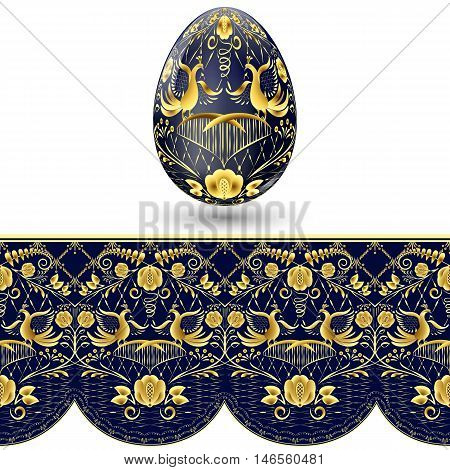 Easter egg painted. Dark blue and gold seamless pattern in national style of painting on porcelain. Vector illustration