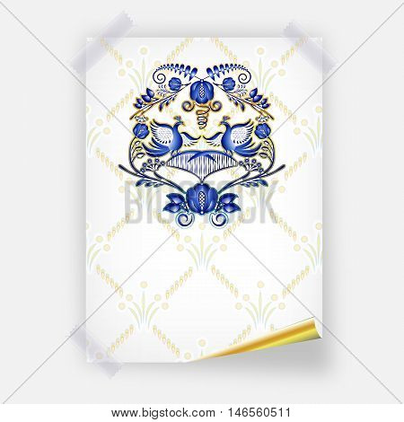 Poster with beautiful pattern in the style of Gzhel on the wall. Imitation of painting on porcelain. Blue and gold pattern with birds and flowers. Vector illustration