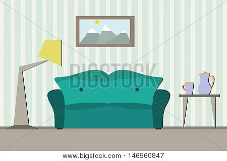 Interior room with sofa. Flat design. Vector illustration with decoration livingroom. Sofa and lamp near the wall. Room with furniture. Room design. Apartment flat background with sofa.