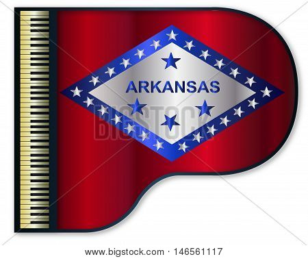 The Arkansas state flag set into a traditional black grand piano