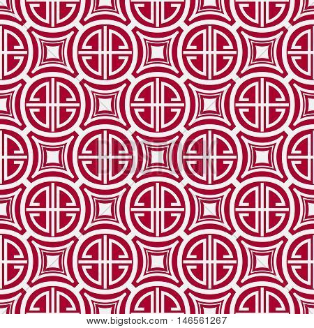 Seamless red pattern with the Chinese symbol of blessing. Vector illustration.