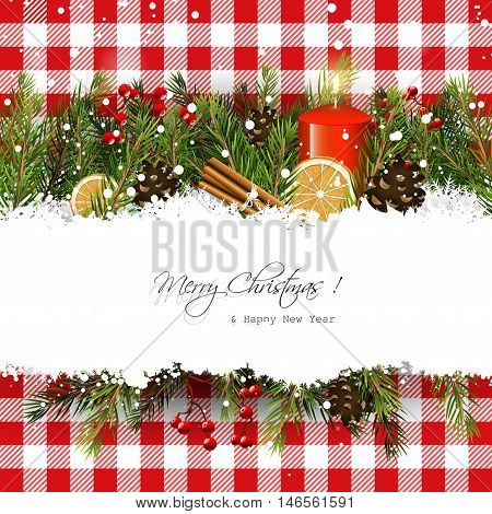 Christmas greeting card with branches and traditional decorations on red checkered background