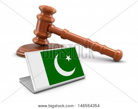 3D Illustration. 3d wooden mallet and Pakistan flag. Image with clipping path
