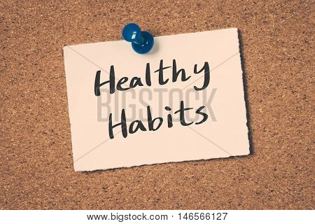 Healthy Habits note pin on the bulletin board