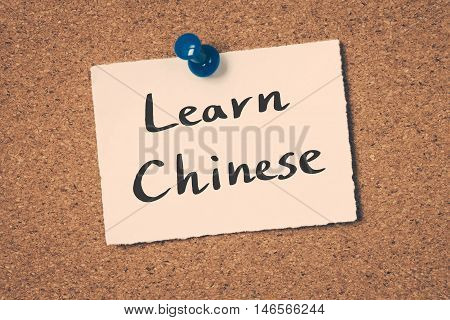 Learn Chinese note pin on the bulletin board