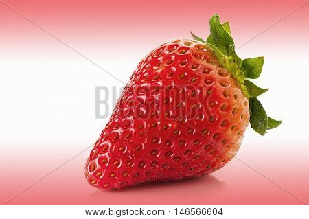 Close-up image of strawberry on nice pink and white background
