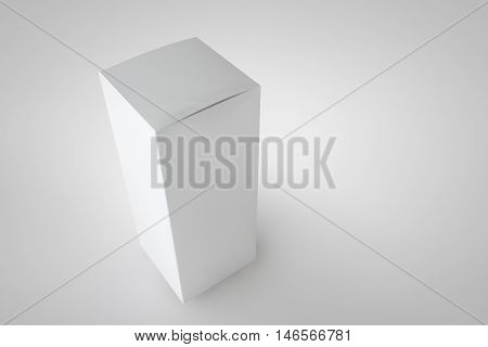 Mock up package box. White tall long product cardboard. Realistic box for your design. 3D rendering for your design and template.