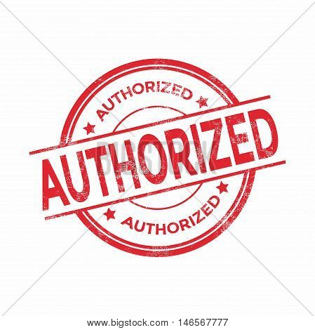 Authorized red rubber stamp isolated. vector illustration