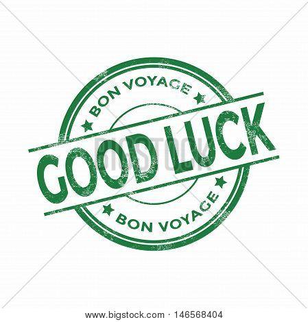 Green good luck Bon Voyage stamp vector