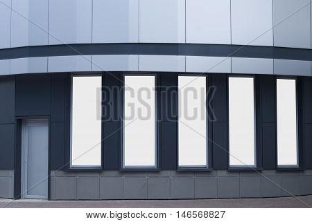 Mock up showcase with a door and windows for your design.
