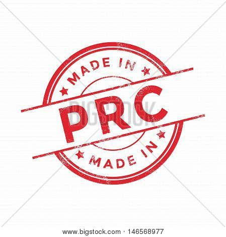 Made in PRC red vector graphic. Round rubber stamp isolated on white background. With vintage texture.