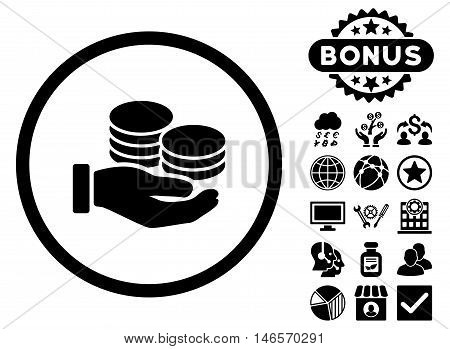 Salary Coins icon with bonus. Vector illustration style is flat iconic symbols, black color, white background.