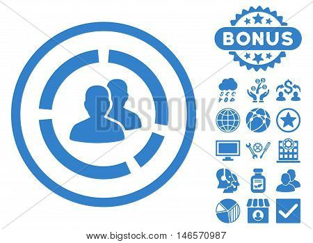 Demography Diagram icon with bonus. Vector illustration style is flat iconic symbols, cobalt color, white background.