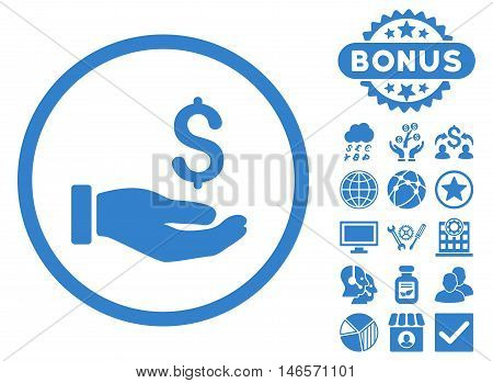 Earnings Hand icon with bonus. Vector illustration style is flat iconic symbols, cobalt color, white background.