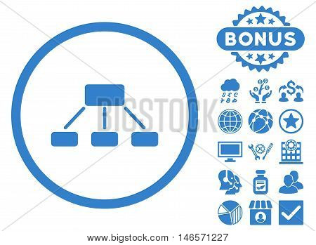 Hierarchy icon with bonus. Vector illustration style is flat iconic symbols, cobalt color, white background.