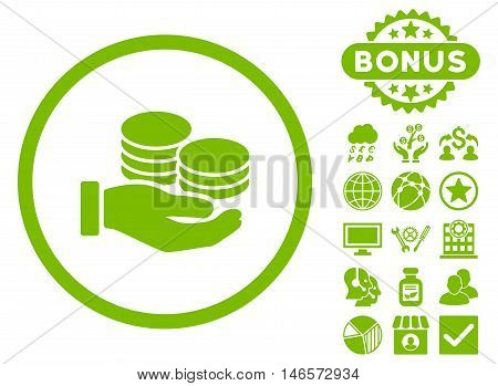 Salary Coins icon with bonus. Vector illustration style is flat iconic symbols, eco green color, white background.