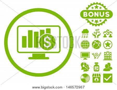 Sales Monitor icon with bonus. Vector illustration style is flat iconic symbols, eco green color, white background.