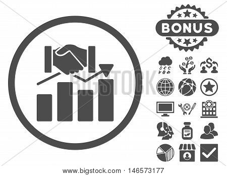 Acquisition Graph icon with bonus. Vector illustration style is flat iconic symbols, gray color, white background.