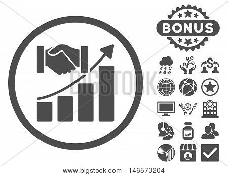 Acquisition Growth icon with bonus. Vector illustration style is flat iconic symbols, gray color, white background.