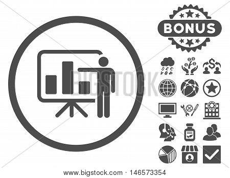 Bar Chart Presentation icon with bonus. Vector illustration style is flat iconic symbols, gray color, white background.