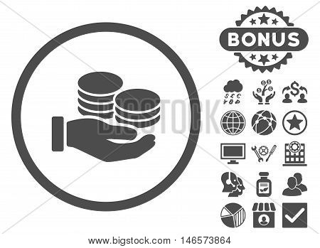 Salary Coins icon with bonus. Vector illustration style is flat iconic symbols, gray color, white background.