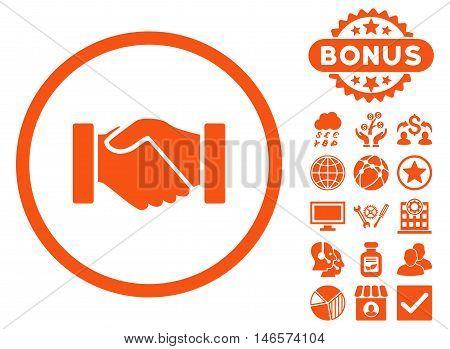 Acquisition Handshake icon with bonus. Vector illustration style is flat iconic symbols, orange color, white background.