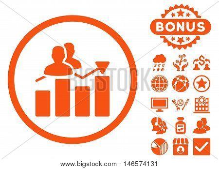 Audience Graph icon with bonus. Vector illustration style is flat iconic symbols, orange color, white background.