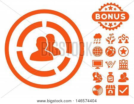 Demography Diagram icon with bonus. Vector illustration style is flat iconic symbols, orange color, white background.