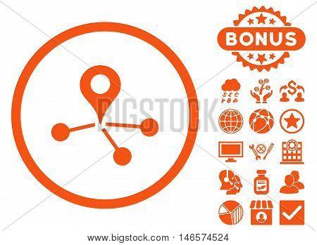 Geo Network icon with bonus. Vector illustration style is flat iconic symbols, orange color, white background.