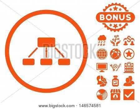 Hierarchy icon with bonus. Vector illustration style is flat iconic symbols, orange color, white background.