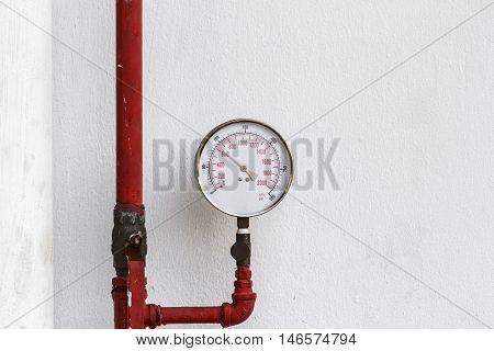 Pressure gauge water pipelines pipe valve water connection on industry