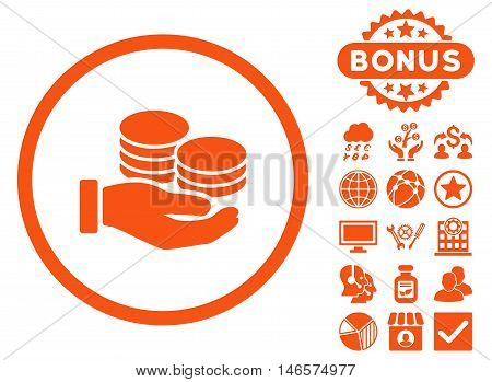 Salary Coins icon with bonus. Vector illustration style is flat iconic symbols, orange color, white background.