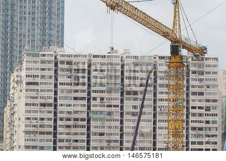 Construction Site In Hong Kong Near Kowloon Station , Modern Skylines