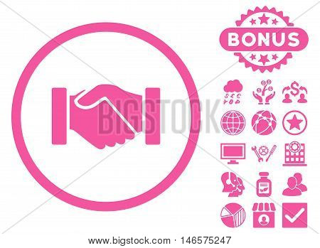 Acquisition Handshake icon with bonus. Vector illustration style is flat iconic symbols, pink color, white background.