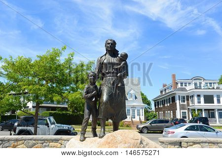 Gloucester Fisherman s Wives Memorial located near the entrance of Gloucester, Massachusetts, USA. This statue is the most famous landmark of Cape Ann.