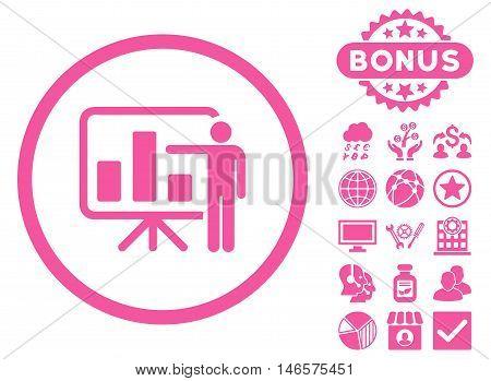 Bar Chart Presentation icon with bonus. Vector illustration style is flat iconic symbols, pink color, white background.